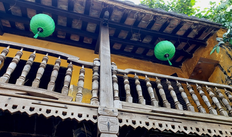 Architectural detail of a balcony in Hoi An