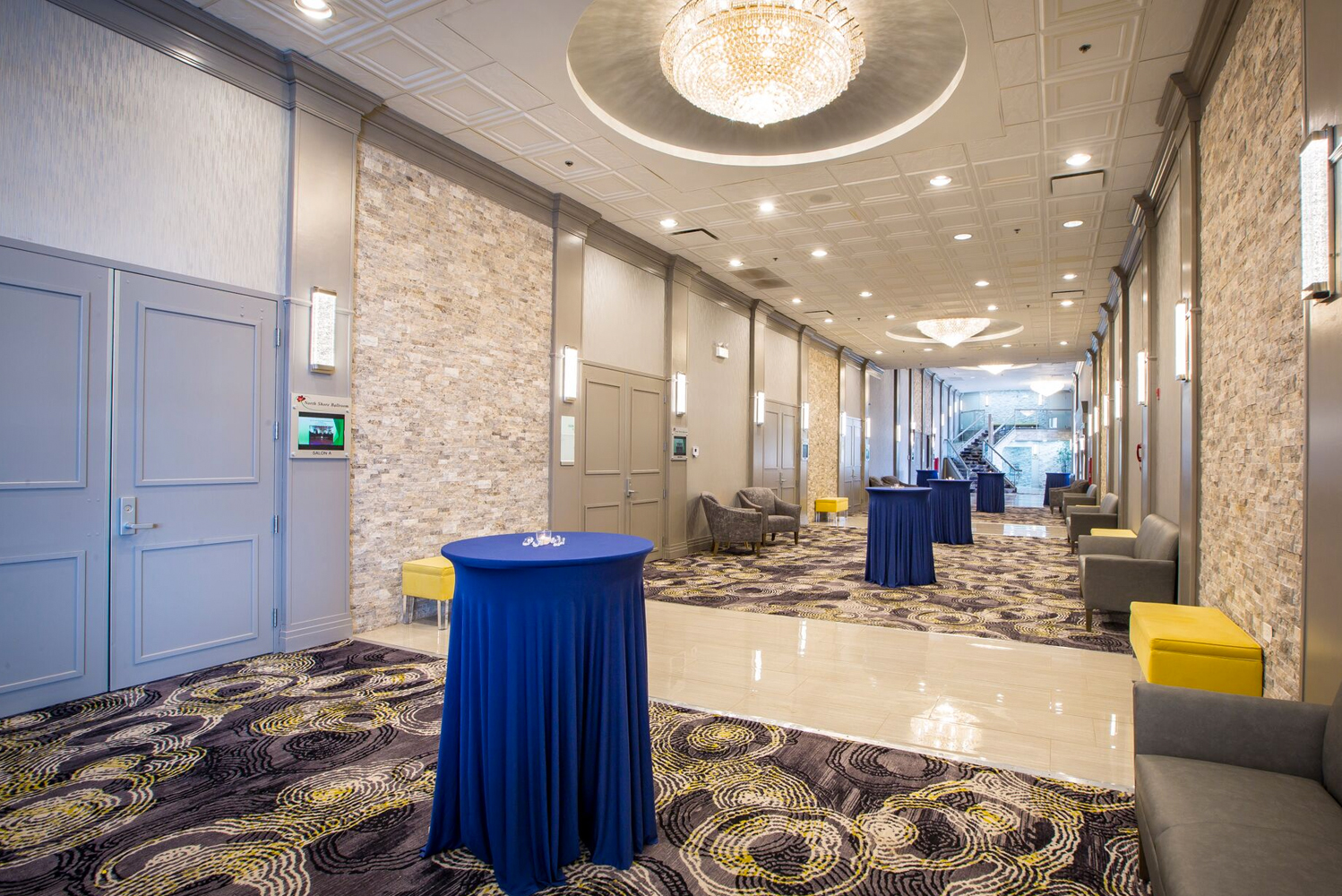 With the redesign, the 15,000 square feet of pillarless event and meeting space can now be divided into eight separate meeting spaces and can accommodate up to 1,000 guests.