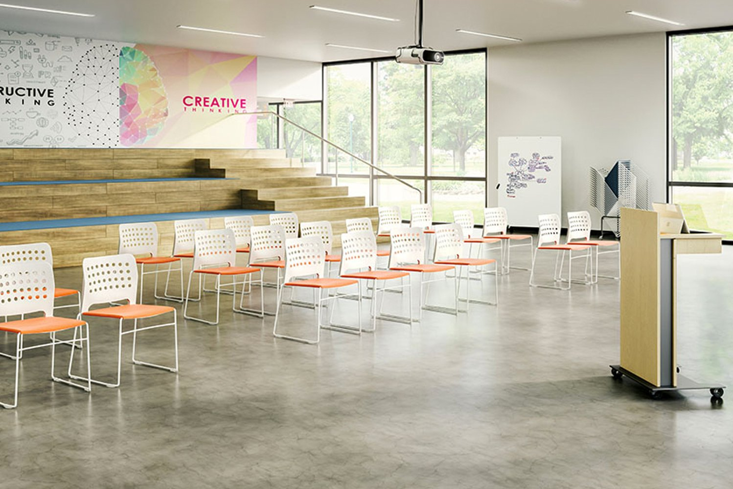 Hoopz is an adaptable and stackable seating line designed by Signor Biscaglia for Infiniti, the partner brand of Community Furniture.