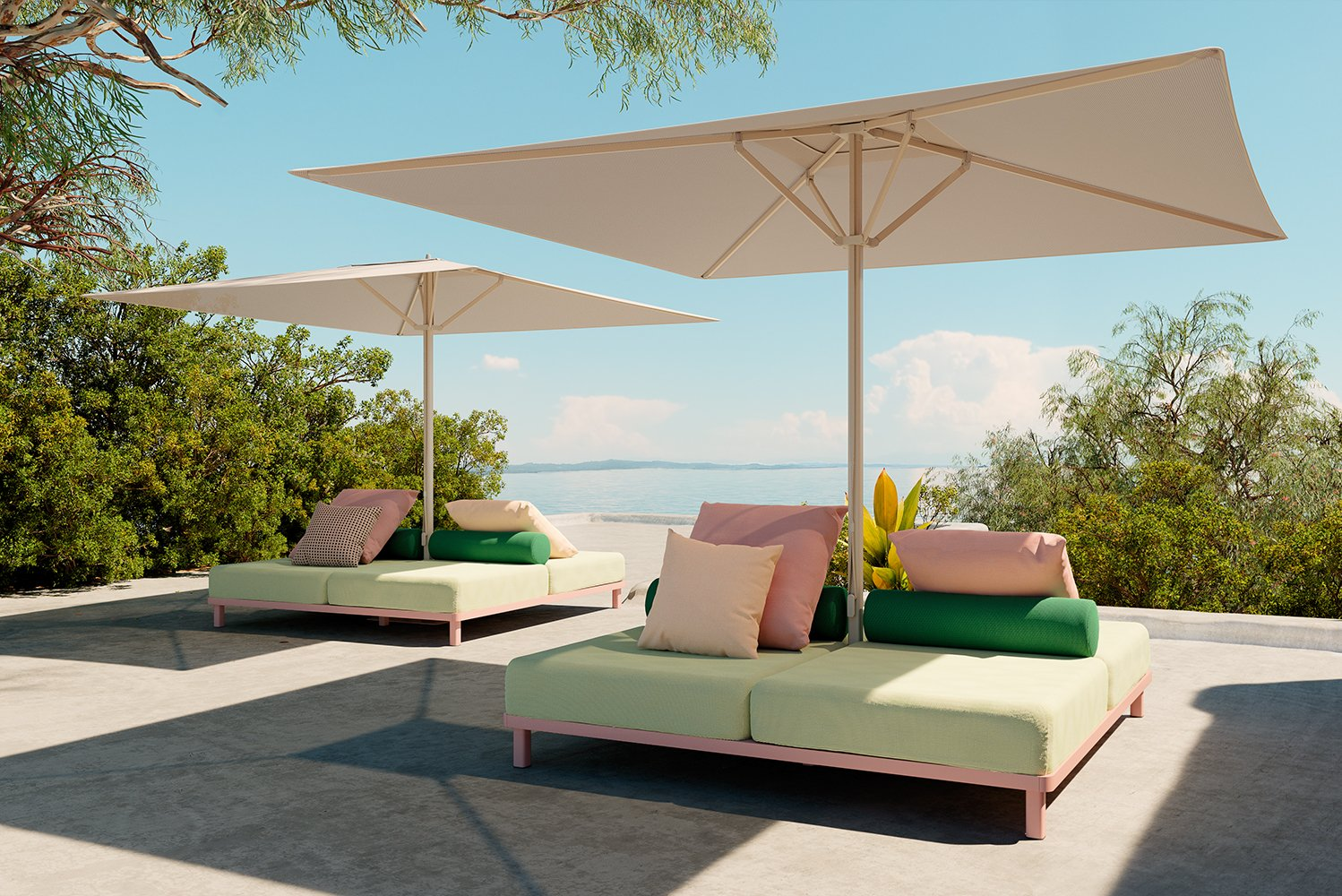 Konstantin Grcic relaunched the Meteo parasols.