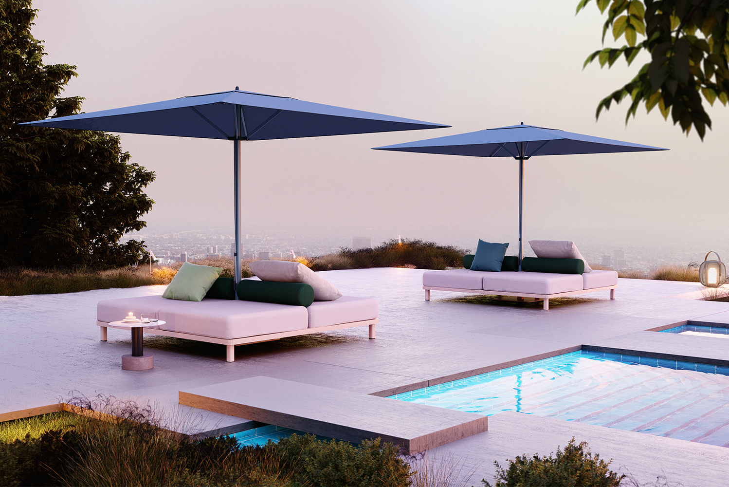 The parasols are available in all Kettal colors.