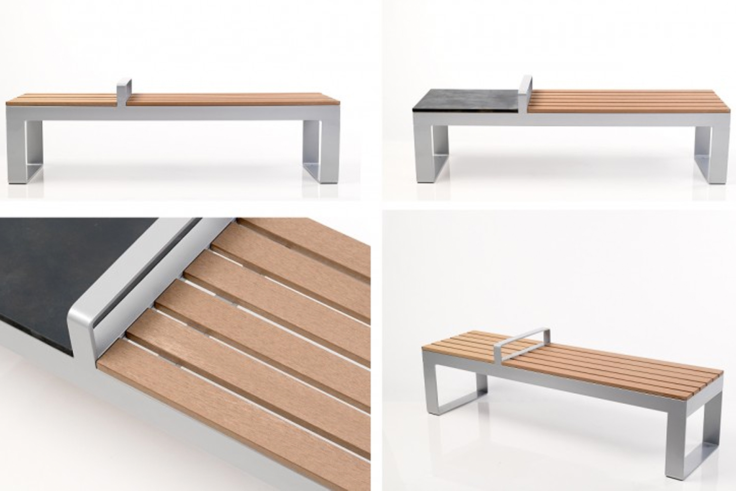 Pak has a solid aluminum frame, and the seat is constructed of recycled composite wood slats with the option of a stone-like section made from recycled materials.