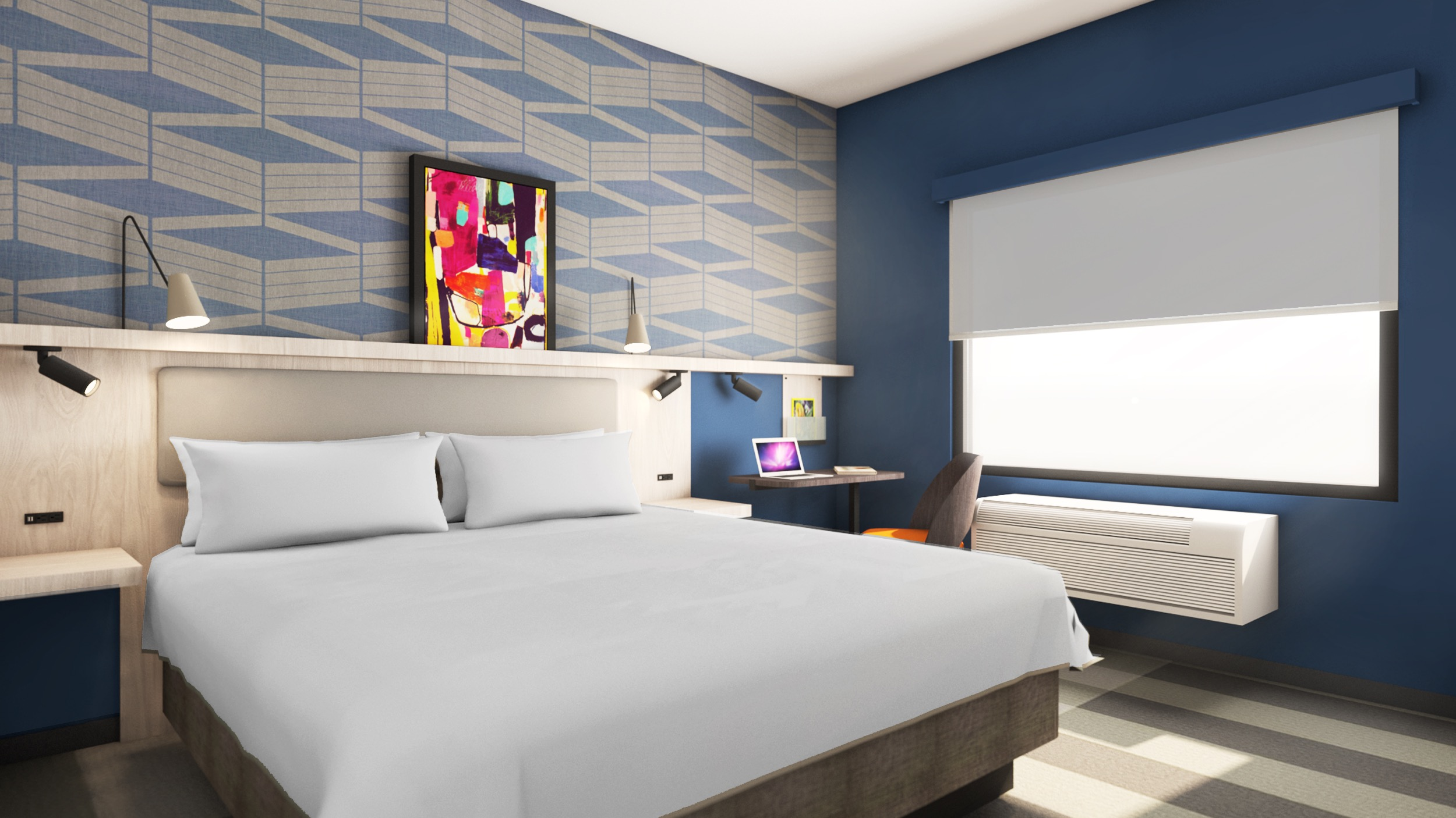 The new Park Inn design, targeted at the upper-midscale market, is meant to maximize space within a compact footprint.