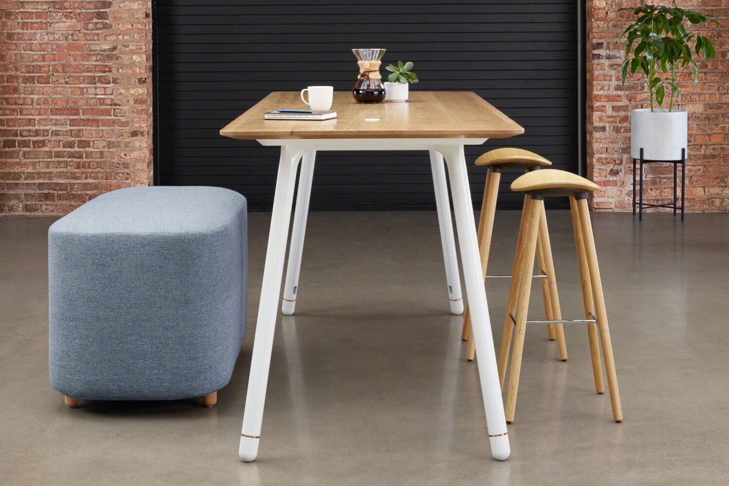 Table top material choices include laminate, veneer, Corian or back painted glass.