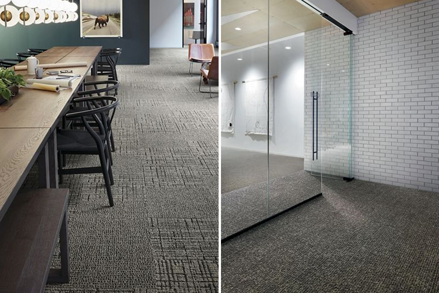 Interface launched Second story, a new collection of carpet tiles. Four