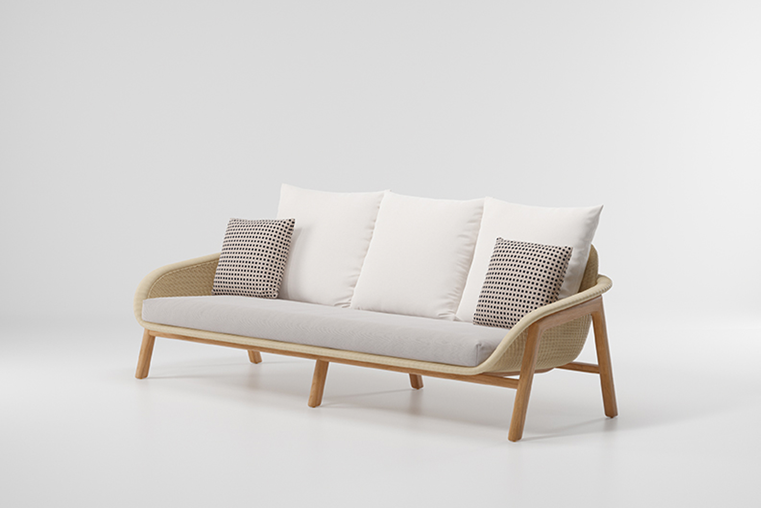 The sofa and chairs have wood frame to ensure durability when exposed to the elements.