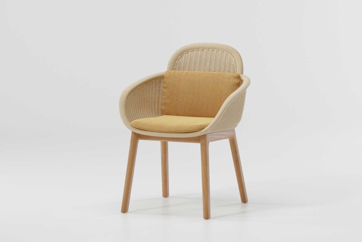 The chairs have a modernist spirit punctuated by cushions inspired by colors plucked from nature.