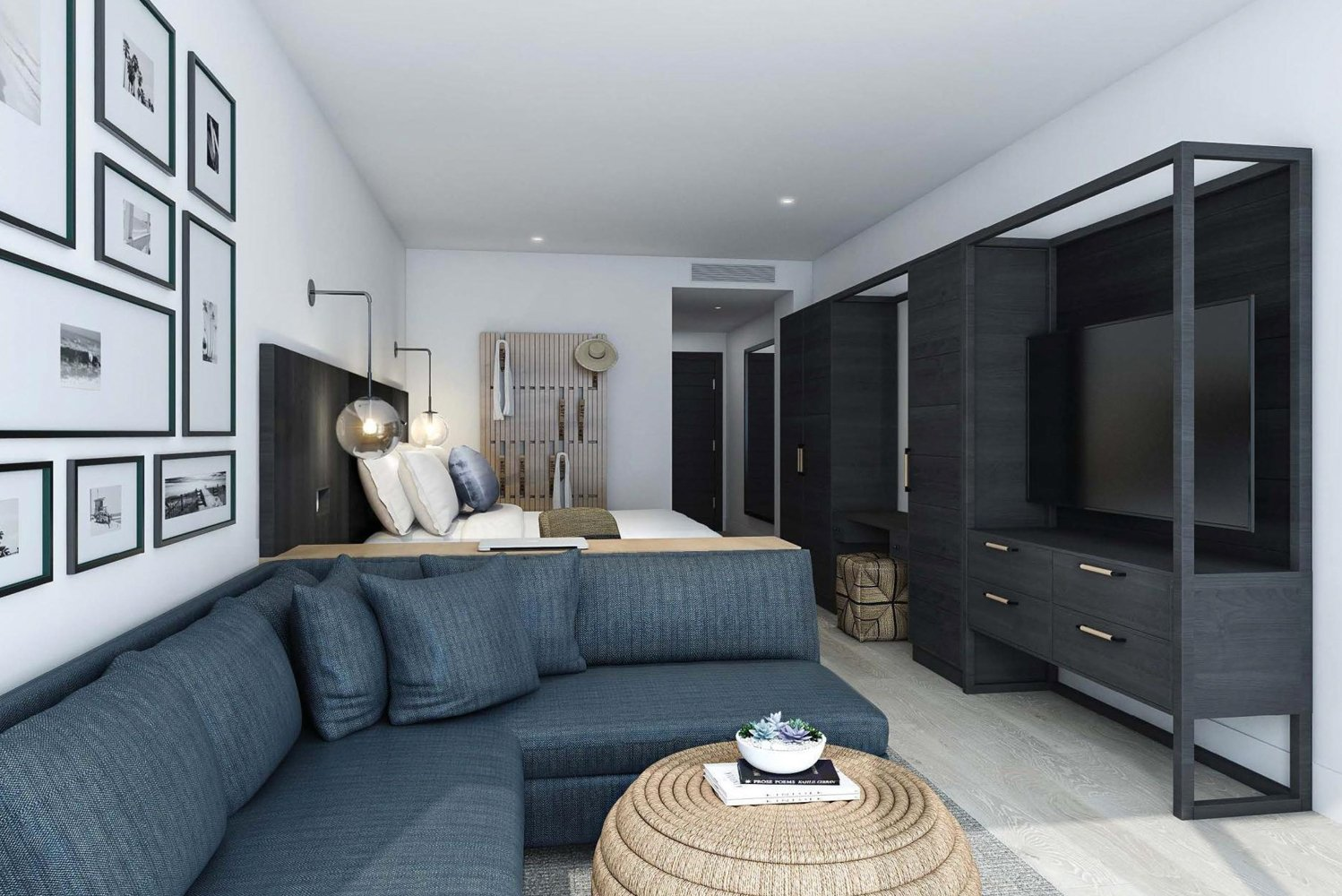 Wave Resort's rooms were designed by Hirsch Bedner Associates (HBA).