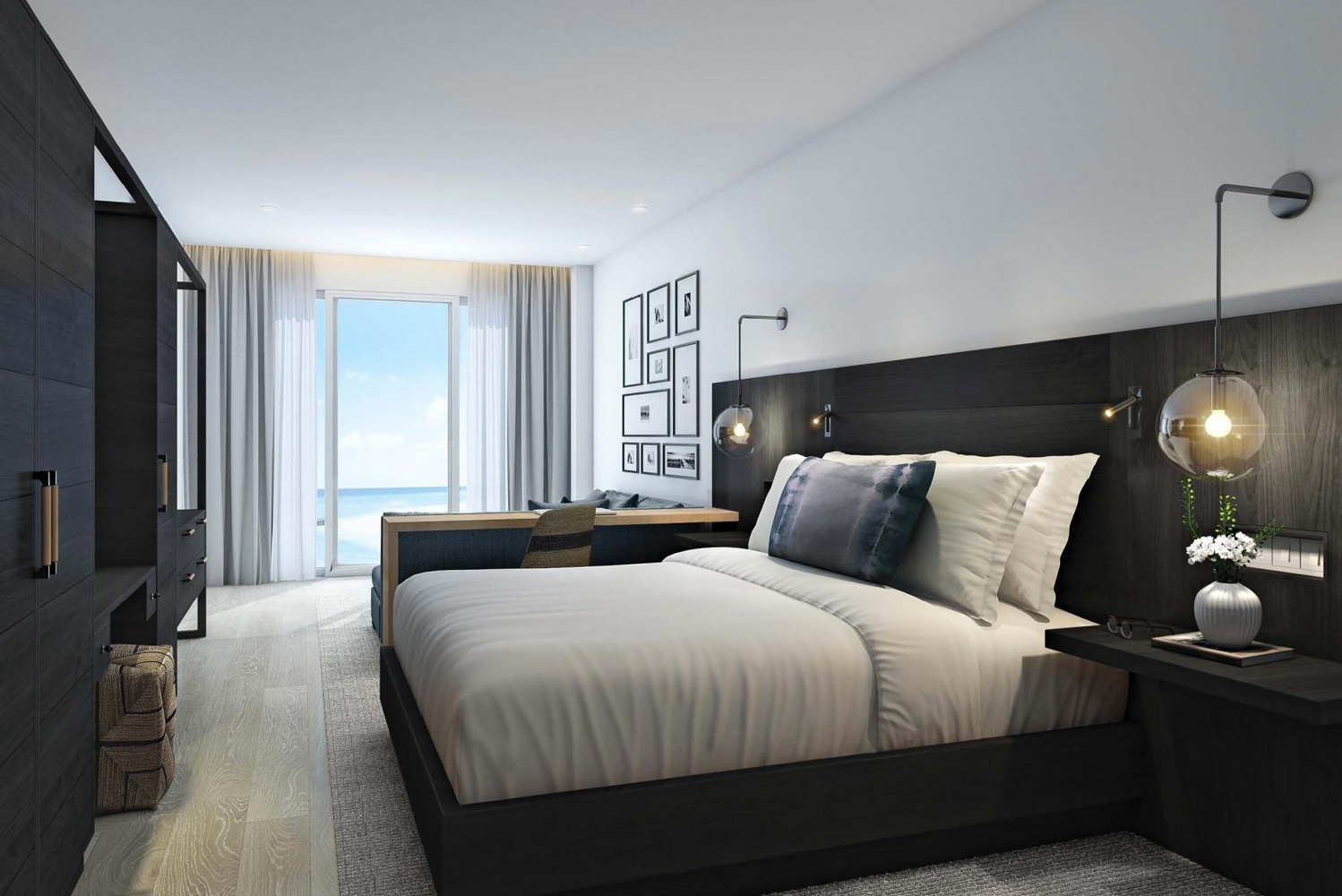 Each room is configured to provide views of the Atlantic Ocean from terraces and through floor-to-ceiling, wall-to wall windows.