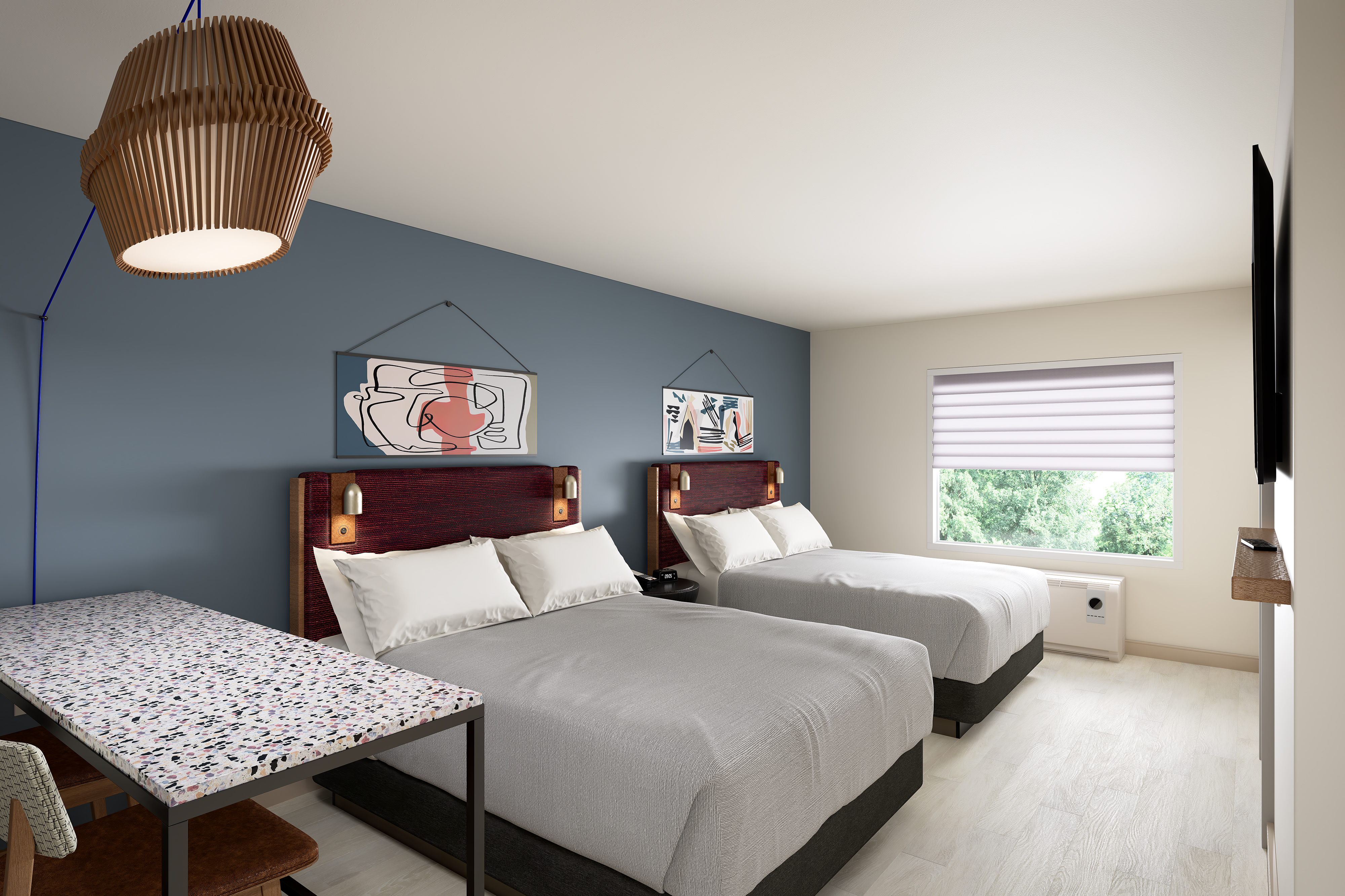 Rooms with two queen beds will cover 409 square feet.
