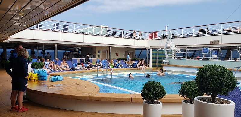 The Magradome was removed from Carnival Sunrise's aft pool area. Photo by Susan J. Young