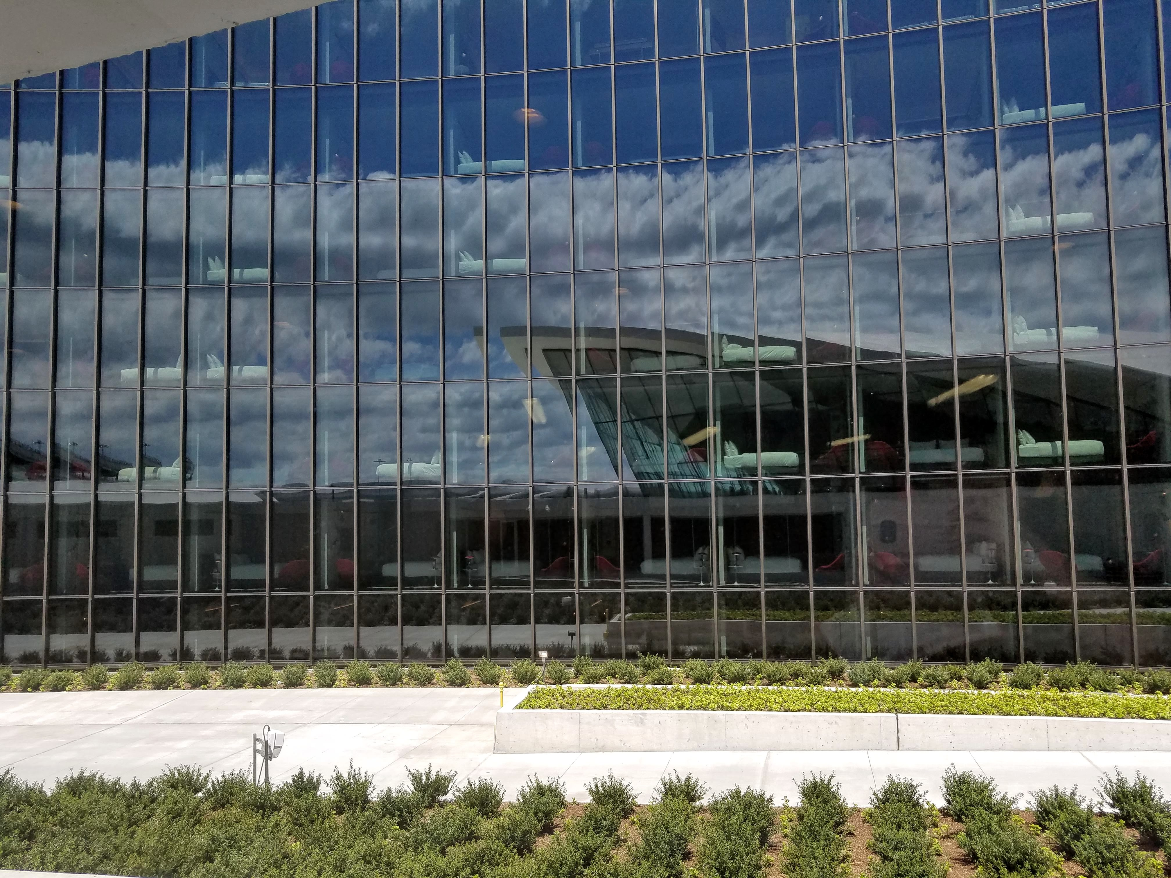 The curtain wall of the guestroom wings is made of seven layers of glass.
