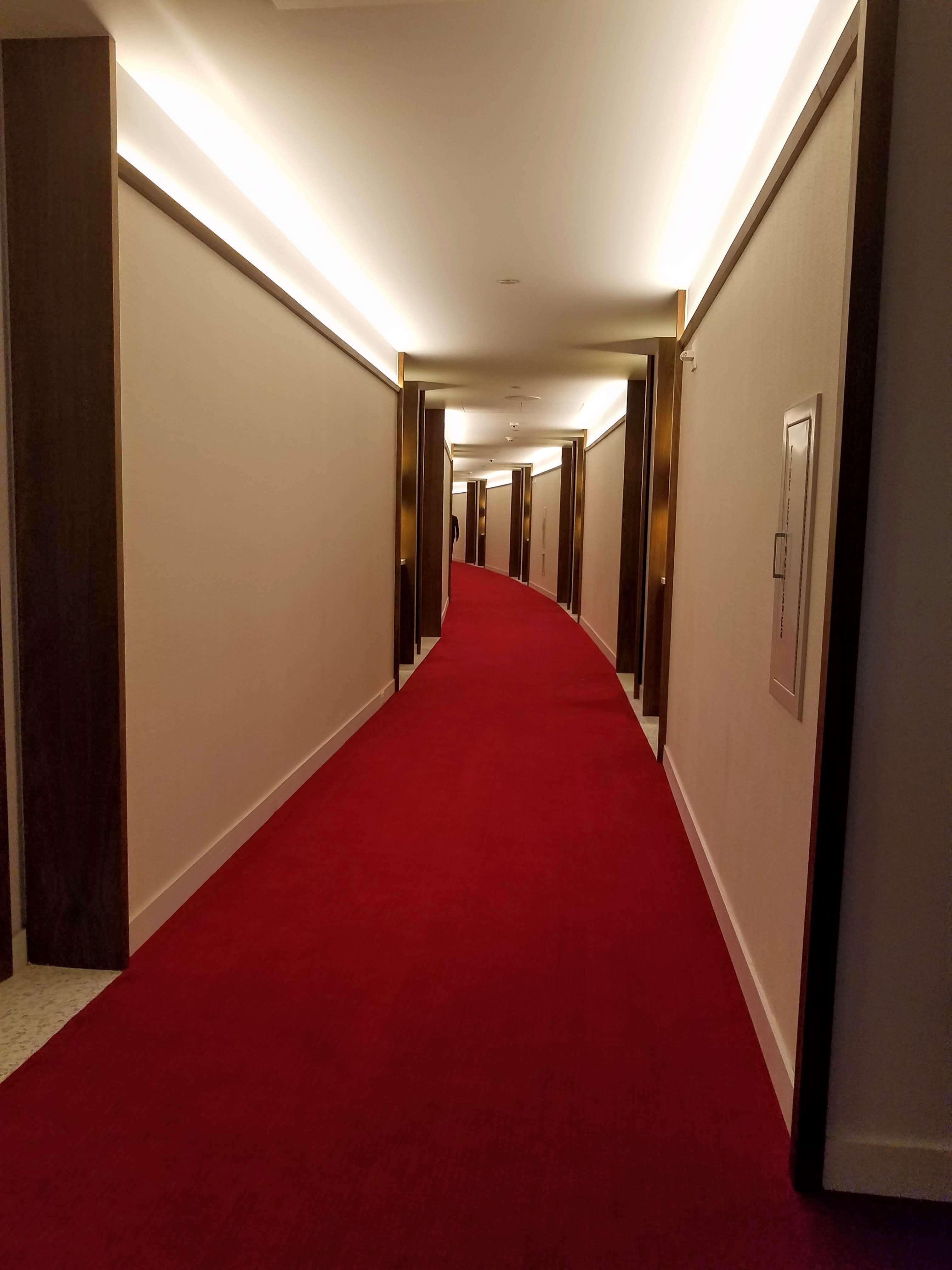 The hallways of the guestroom wings evoke the tunnels.