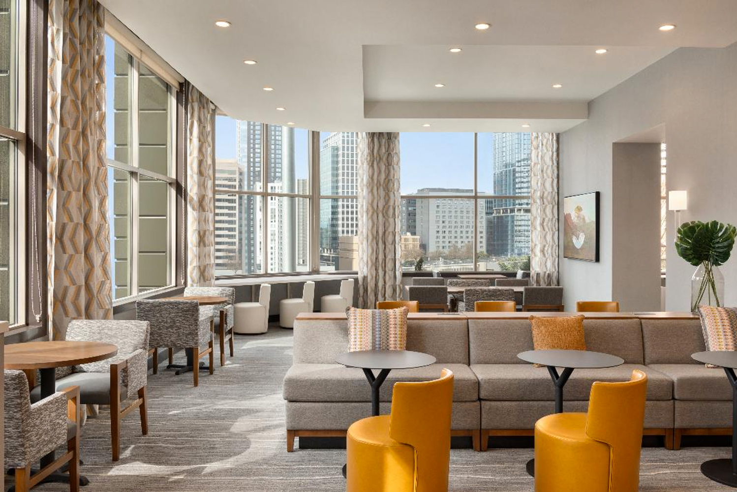 The new look of the Homewood Suites Convention Center Pike Street was designed by J. Kattman Associates.