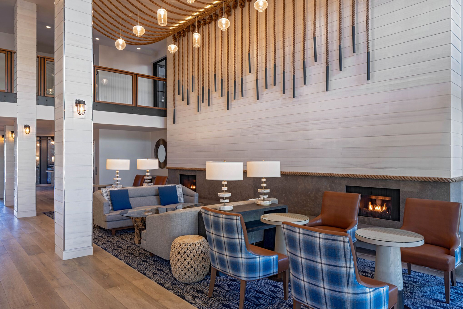 The renovated foyers, halls and elevator lobbies on each floor received new wall coverings and carpeting that reflect the maritime palette found throughout the guestrooms and public spaces.