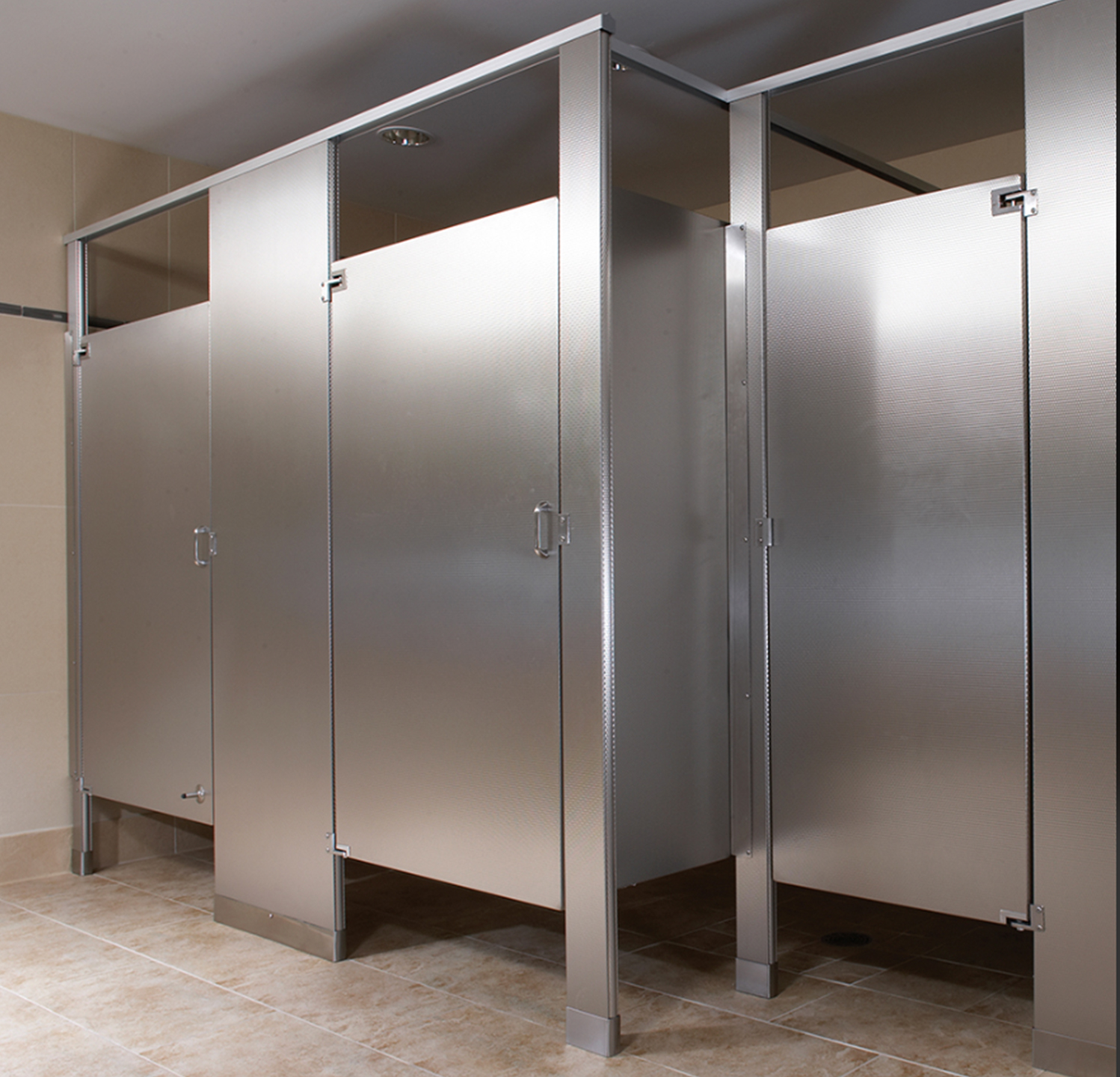 "The partitions feature 72"" tall doors and panels mounted 6"" above the finished floor for standard stalls, and 69"" tall doors and panels mounted 9"" above the finished floor for ADA stalls."