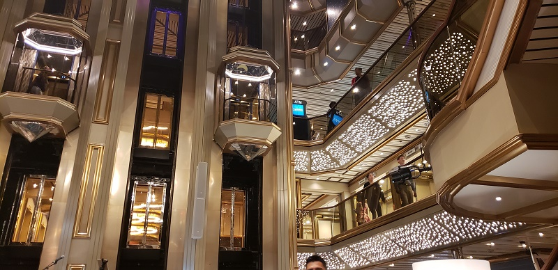Atrium area of Carnival Sunrise. Photo by Susan J. Young