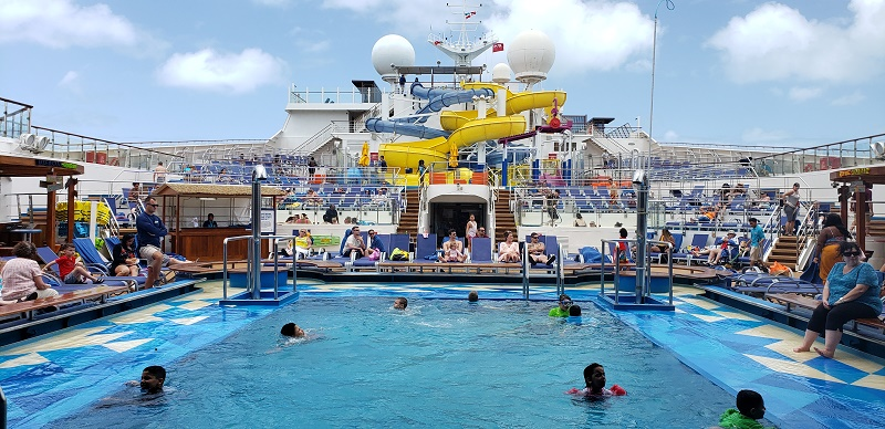 Main pool and a new larger waterpark on Carnival Sunrise: Photo by Susan J. Young