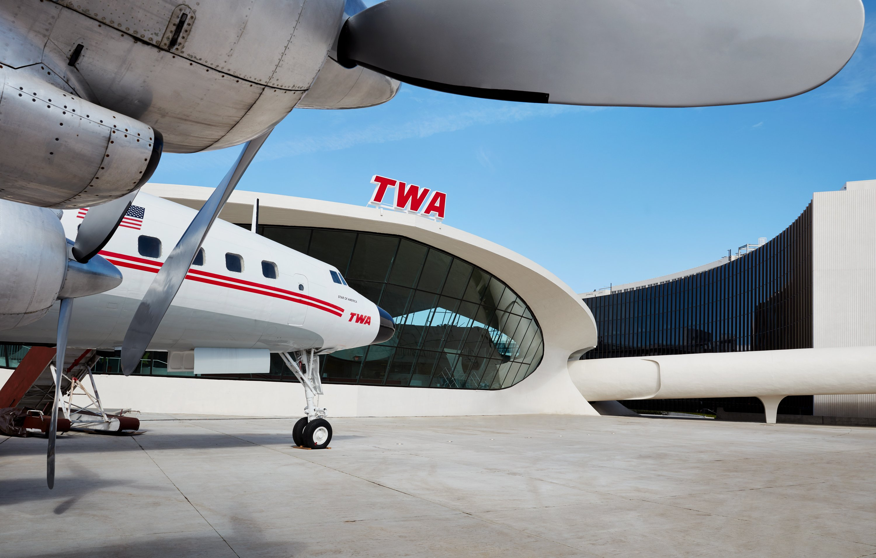 "The TWA Hotel's 1958 Lockheed Constellation ""Connie"" airplane is now a cocktail lounge. Photo credit: TWA Hotel/David Mitchell"