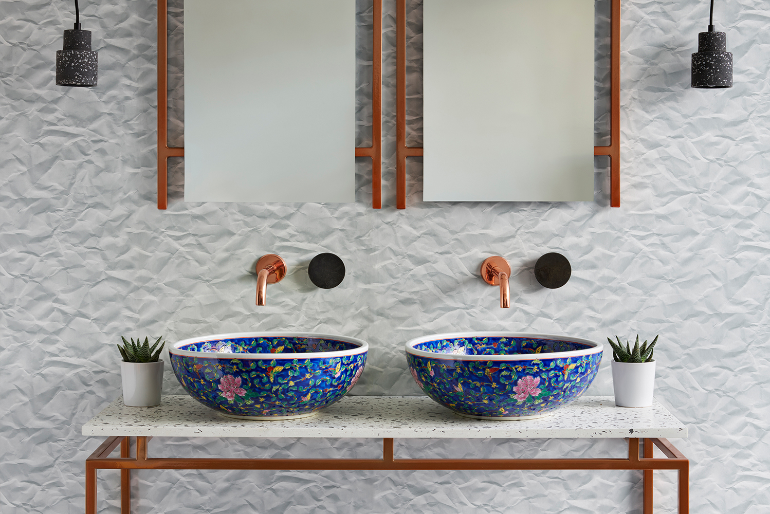 Designed by the founder of the company, interior designer Anna Callis, the basins drew inspiration from Callis's travels, creating her own interpretations of traditional patterns.