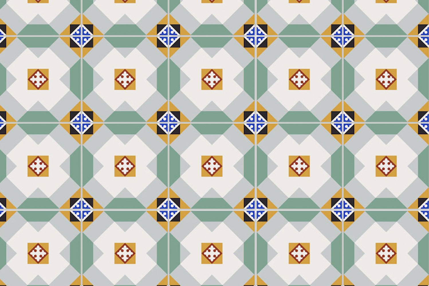 The collection is available in 20 patterns presented in colorways exactly or similar to those seen on historical Cuban floors and walls.