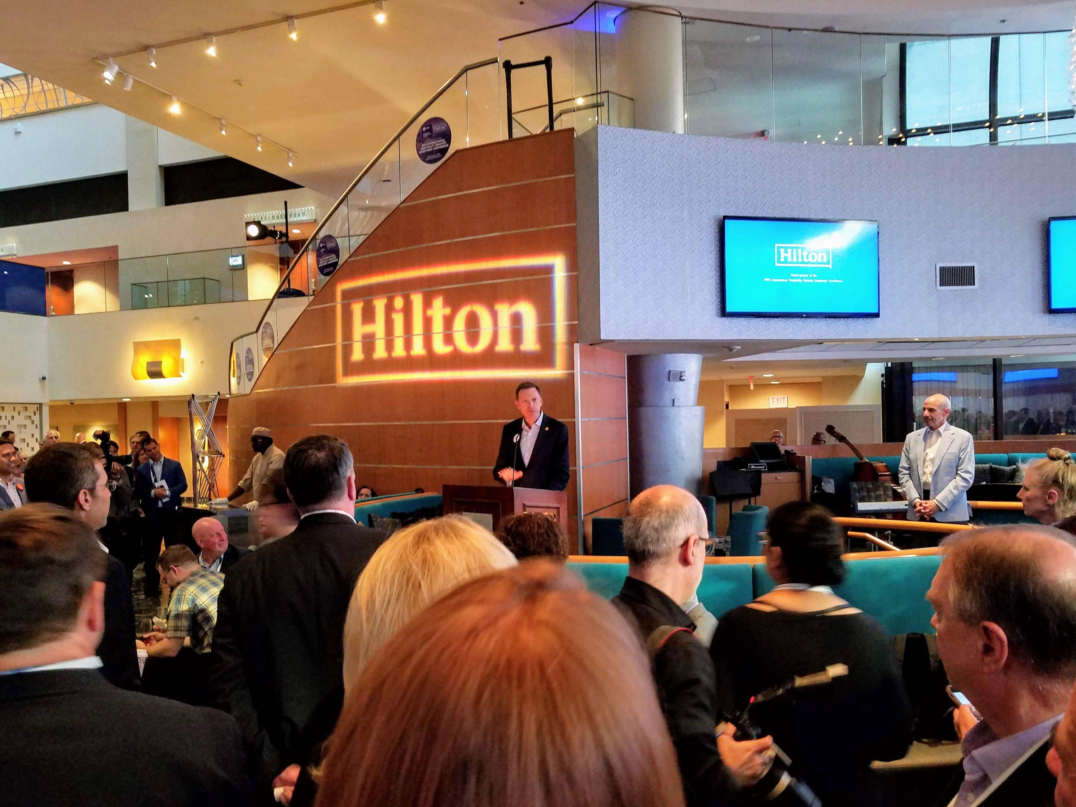 Kevin J. Jacobs, CFO, Hilton, addresses the crowd.