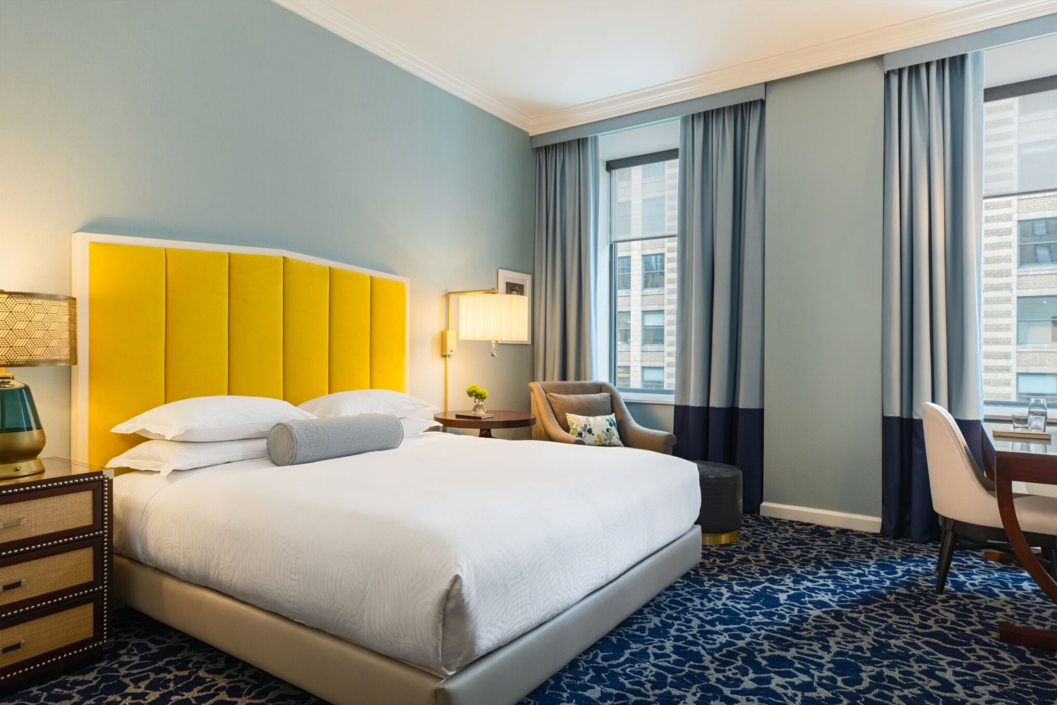 Kimpton Hotel Monaco Chicago completed the transformation of 191 guestrooms and 22 suites, with the living-room lobby's enhancement to be completed later this spring.