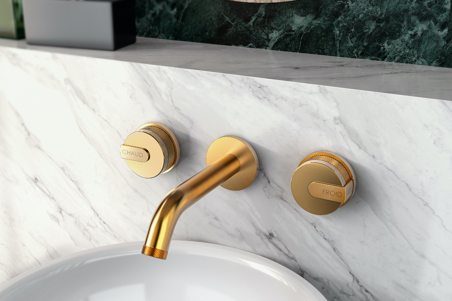 The collection uses marble and brass in the crafting of a series of faucets, tub fillers and shower components.