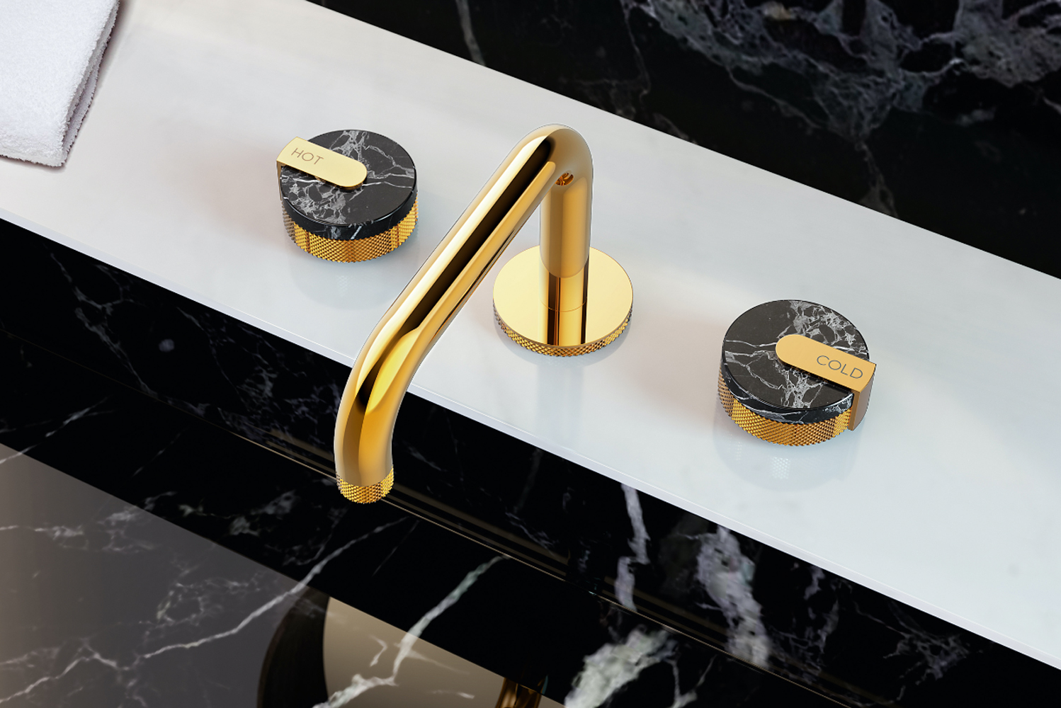 The handle covers are available in three marble finishes produced in Italy: black, white and green stone. There is also a brass option.