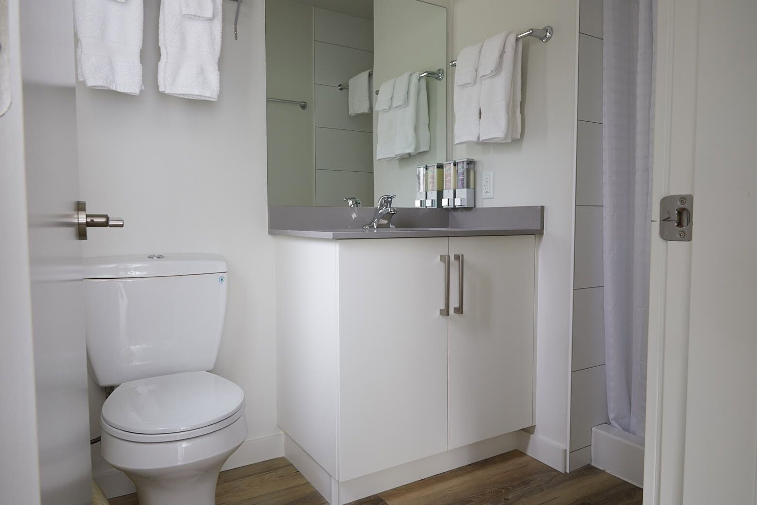 The bathrooms were also improved with the addition of new cabinets, faucets, tubs and tub surrounds.