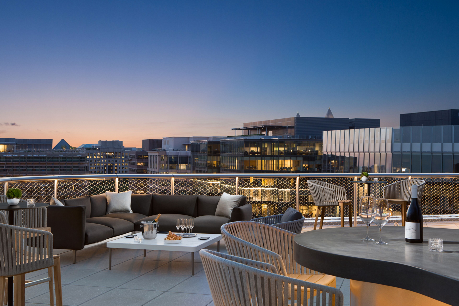 Situated on the 11th floor of the newly opened Conrad Washington, DC, the rooftop venue can accommodate 140 guests.