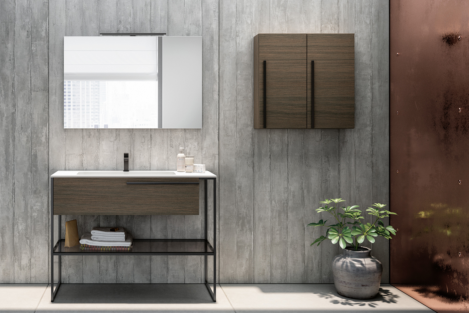 The vanities in the Underground collection are available in three sizes and five styles in a dozen wood finishes, one cement-look finish and 36 matte lacquered finishes.