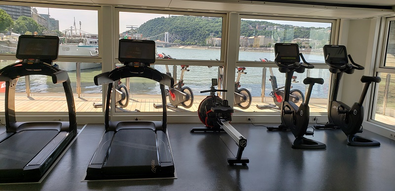 Interior exercise equipment in the aft gym.