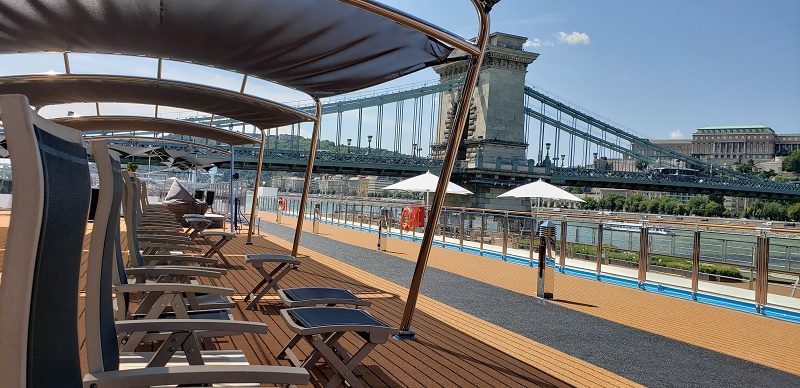 Loungers on Sun Deck; The ship is docked in Budapest.