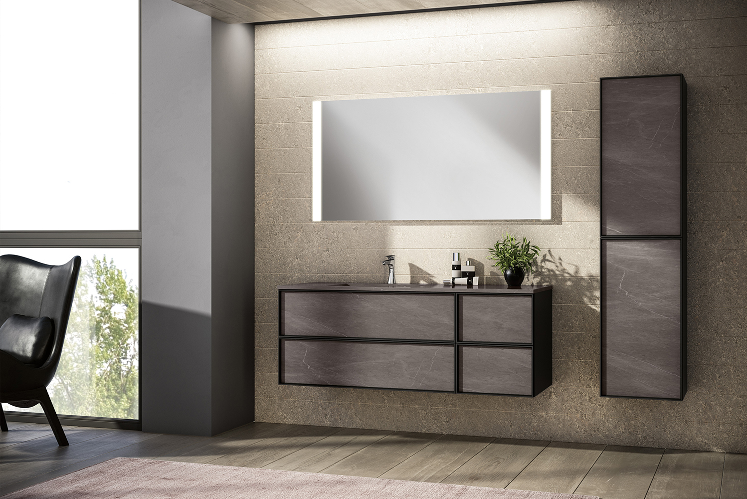 collection comes in a range of color and finish options and is distinguished by streamlined matte black metal frames for a clean, architectural style.