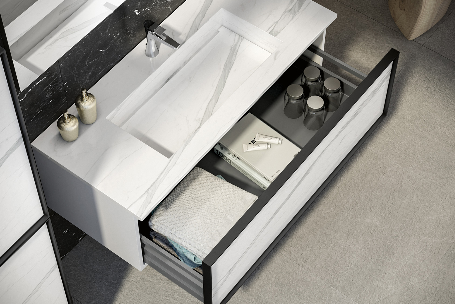 Sink base cabinets come with the option of one or two drawers and a choice of four sizes, while side cabinets offer the same drawer options and five different sizes.