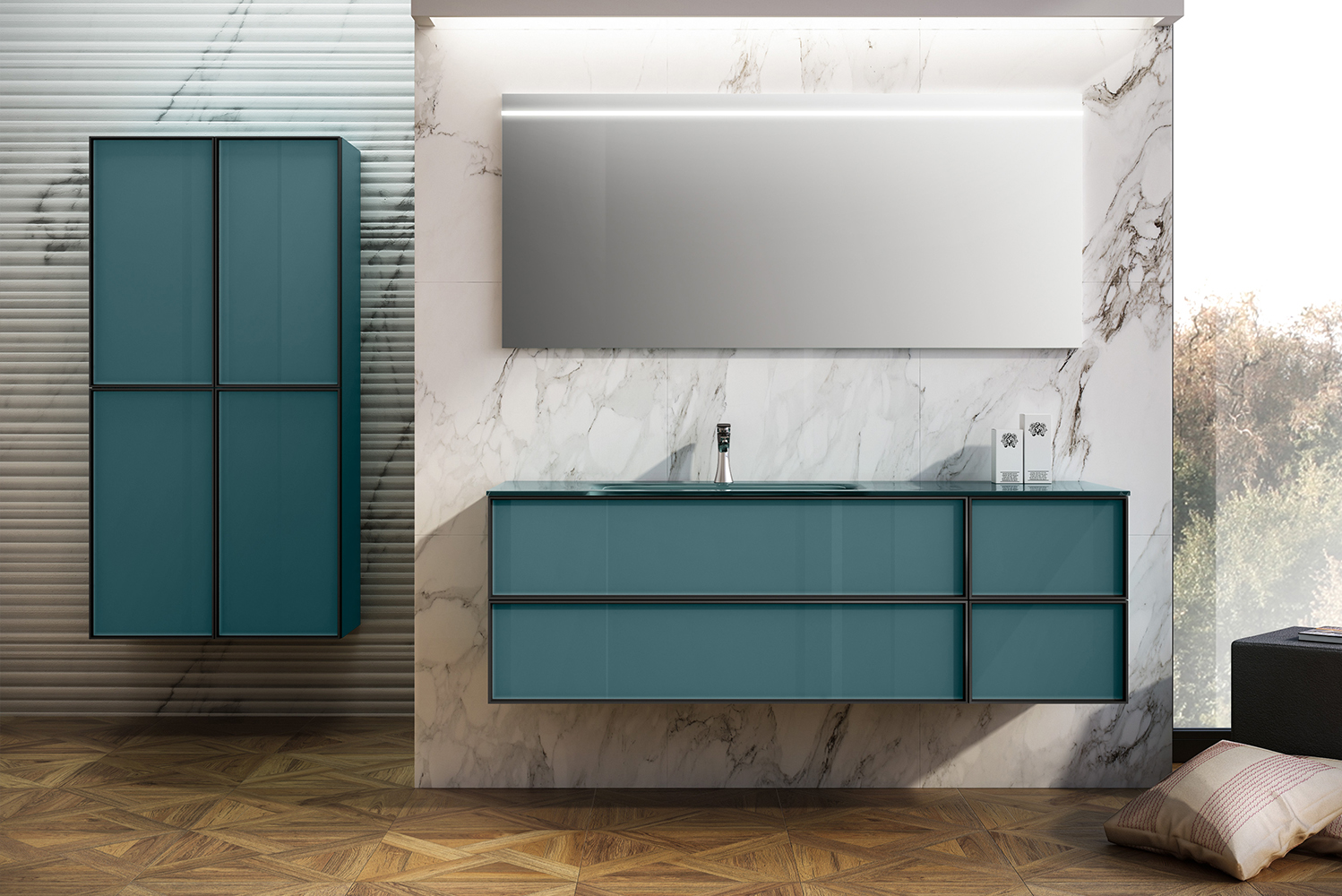 Coordinating mirrors and side cabinets are also available.