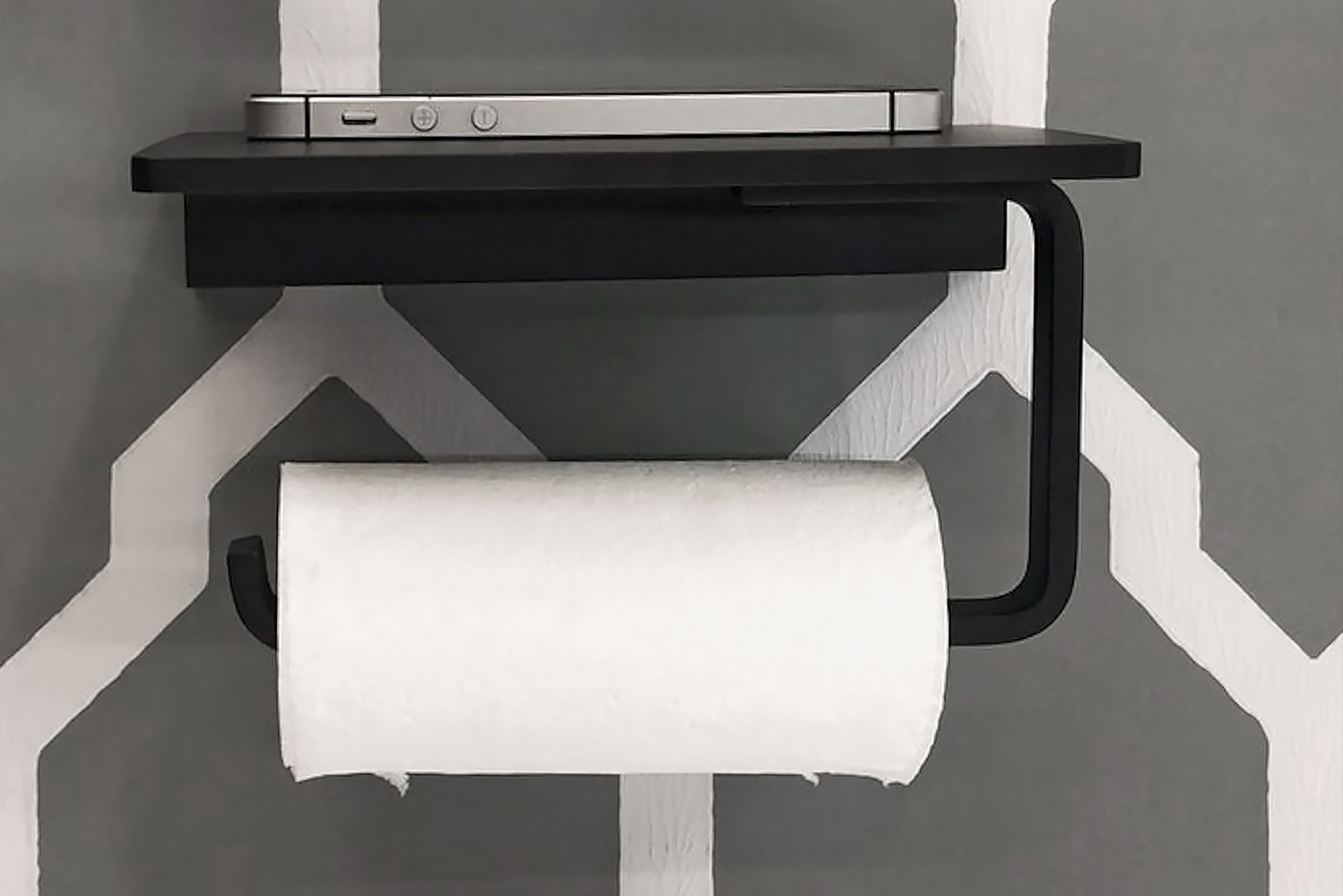 Besides holding toilet paper, the holders offer a place to put smart phones and other small items when in the bathroom.