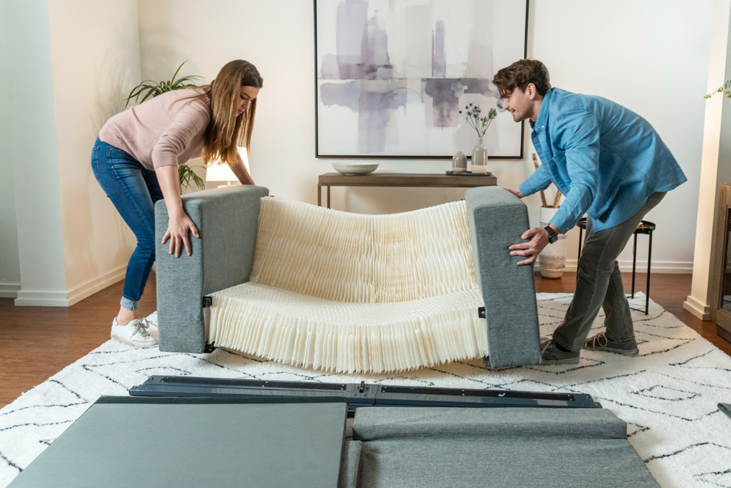 This sofa collapses into one box that can be shipped via UPS or transported by car.