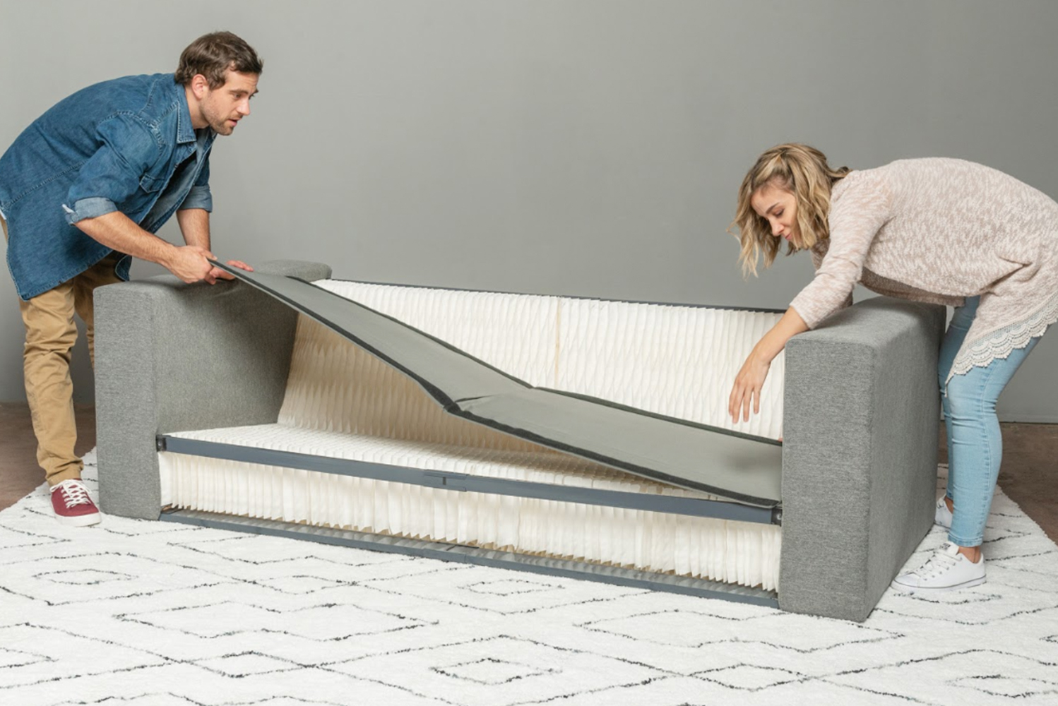 The honeycomb structure used in the sofa's base and back support is expandable and recovers its shape quickly after pressure is applied.