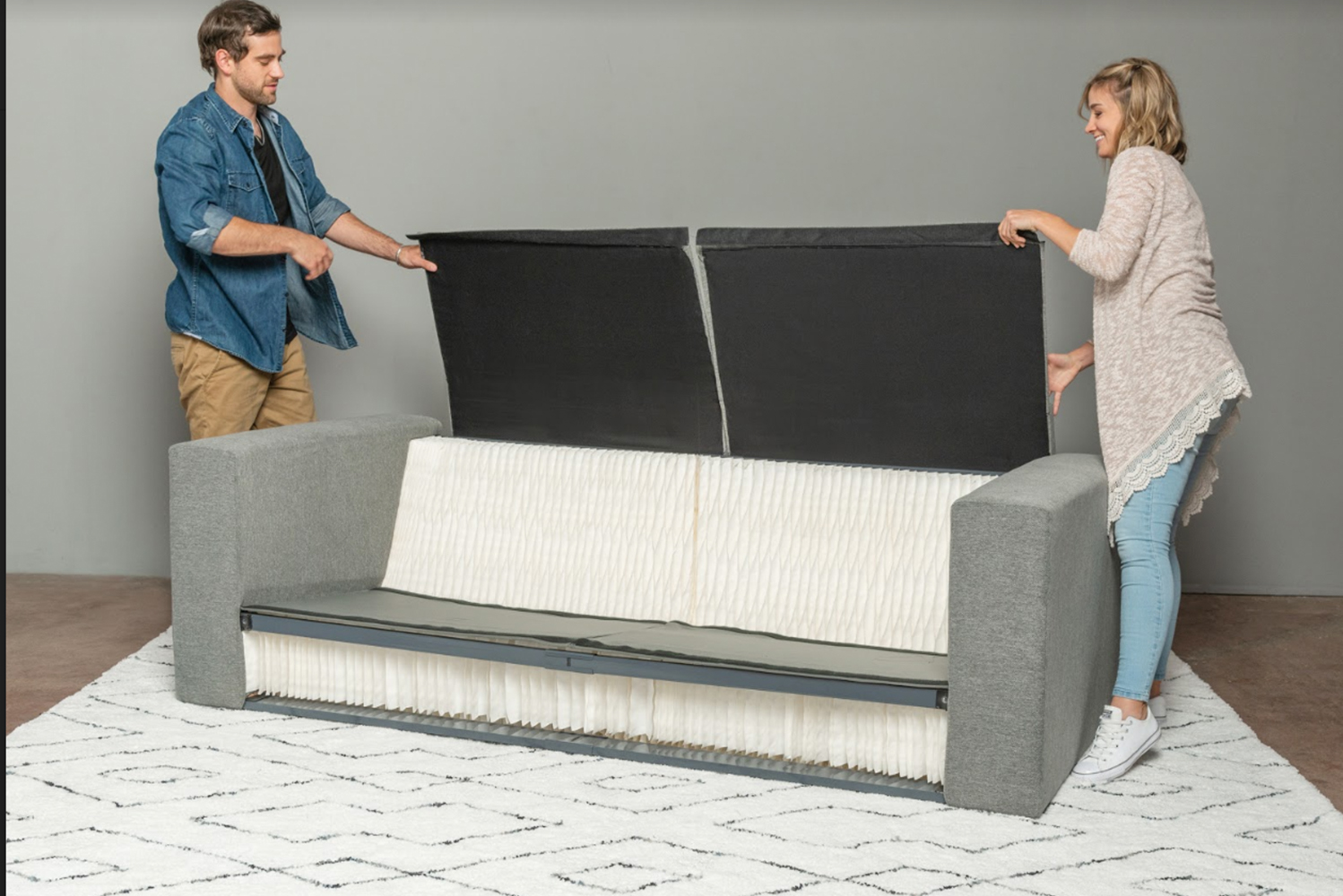 The sofa can hold up to 1,000 lbs. It also easily folds into itself for convenient transport.