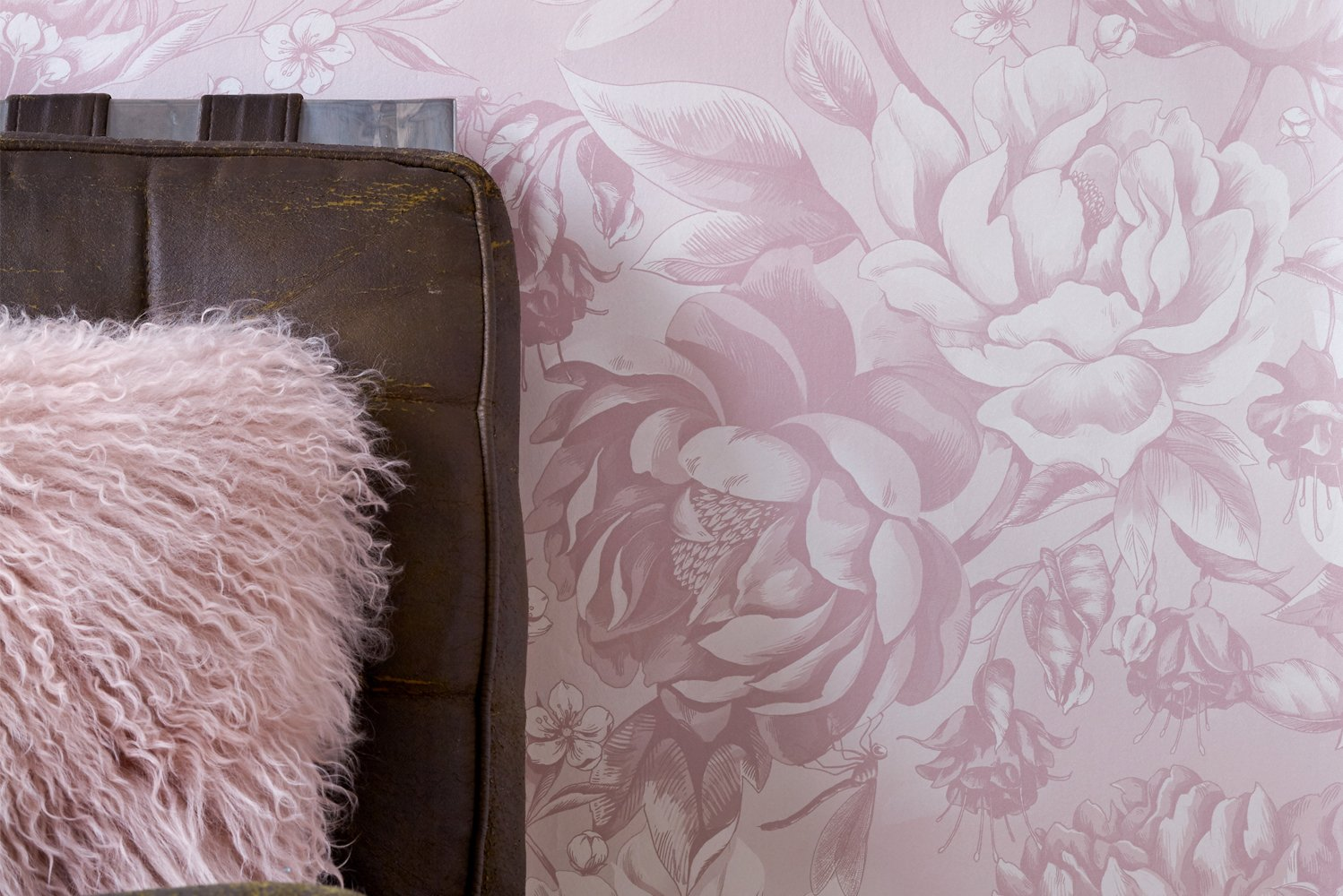 The wallpapers have hand-sketched and digitally-colored peony blooms arranged across planes.