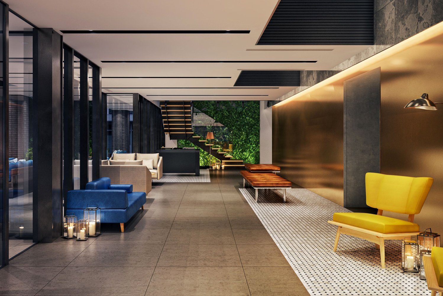 The lobby of The Lively Honmachi Osaka will double as a lounge with sofas, a billiard table, board games, and a projector area for watching films.