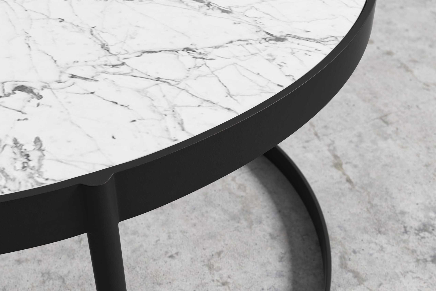 This minimalist table is available in black or white marble and comes in both coffee or side table configurations.