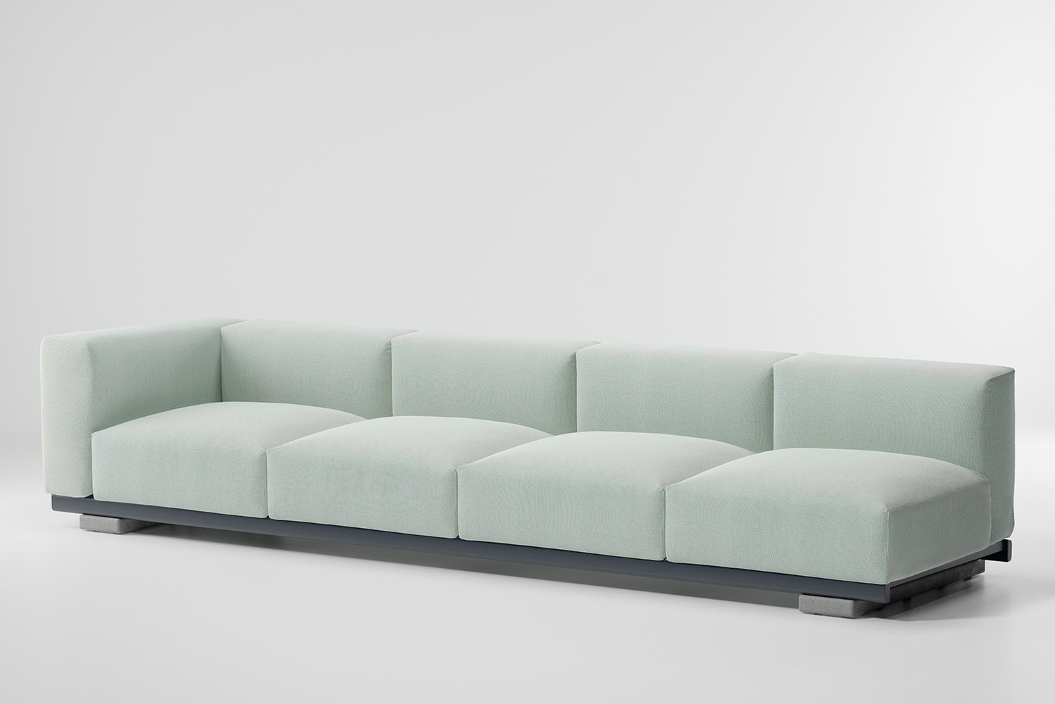 The design is aesthetically minimalistic with intentionally oversized pieces.