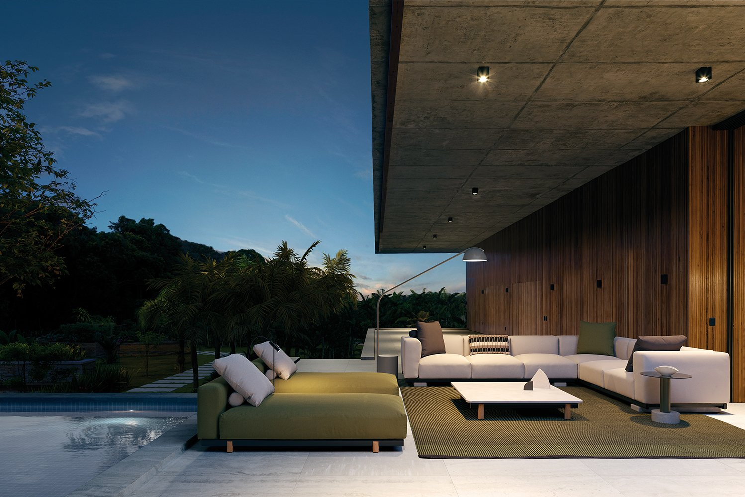 Molo is manufactured in aluminum, teak, concrete and terrain fabrics.