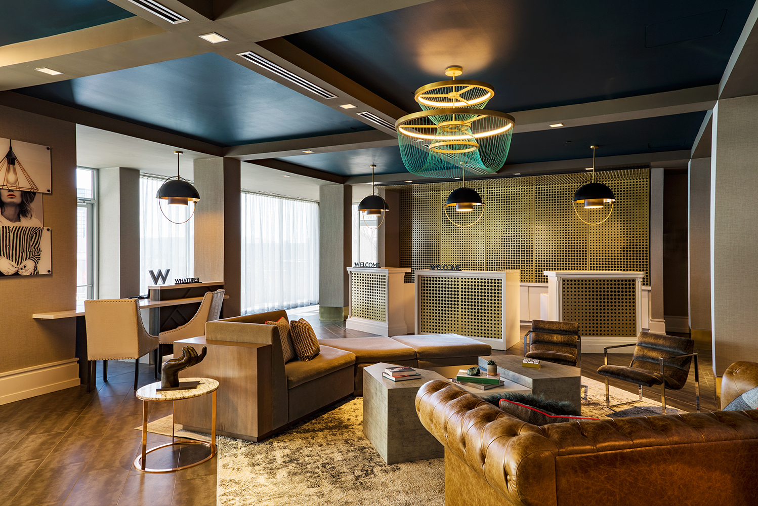 Woodbine hired C+TC Studio of Atlanta as the architect and interior designer for guestrooms and the hotel's rooftop bar, Whiskey Blue; and STUDIO 11 of Dallas as the interior designer for the lobby, public areas and meeting space.