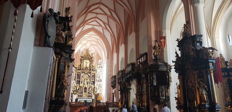 "Interior of St. Michael's Basilica in Mondsee, Austria; interior wedding scenes in the movie, ""The Sound of Music,"" were filmed here."
