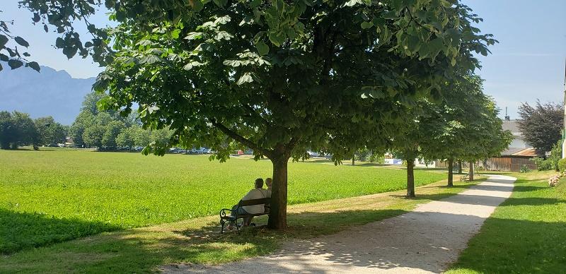 Bucolic park scene in Mondsee, Austria