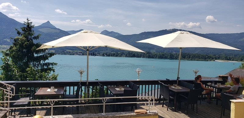 View from the Paul der Wirt restaurant terrace to Wolfgangsee (Lake Wolfgang).